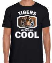 Dieren tijger t-shirt zwart heren tigers are cool shirt