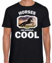 Dieren zwart paard t-shirt zwart heren horses are cool shirt