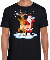 Foute kerst t-shirt dronken kerstman rudolf zwart heren