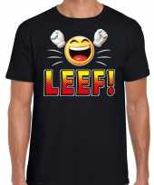 Funny emoticon t-shirt leef zwart heren