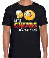 Funny emoticon t-shirt lets cheers it is partytime zwart heren