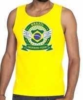Geel brazil drinking team tanktop mouwloos shirt heren