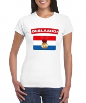 Geslaagd vlag t-shirt wit dames