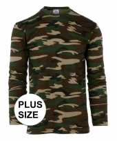 Grote maat camouflage shirt heren lange mouw