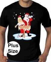 Grote maten fout kerst t-shirt best christmas party zwart heren