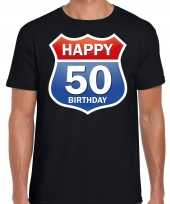 Happy birthday jaar abraham verjaardag t-shirt route bordje zwart heren