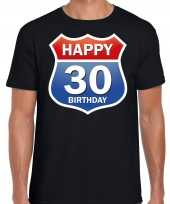 Happy birthday jaar verjaardag t-shirt route bordje zwart heren 10218364
