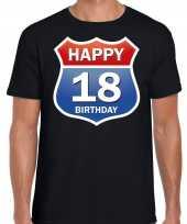 Happy birthday jaar verjaardag t-shirt route bordje zwart heren