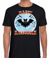 Happy halloween vleermuis verkleed t-shirt zwart heren