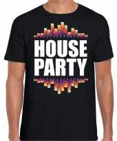 House party fun tekst t-shirt zwart heren