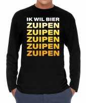Ik wil bier zuipen zuipen zuipen long sleeve t-shirt zwart voor