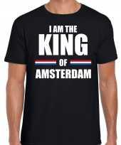 Koningsdag t-shirt i am the king of amsterdam zwart heren