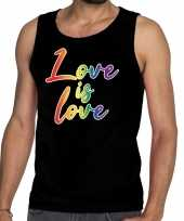 Love is love gaypride tanktop mouwloos shirt zwart heren