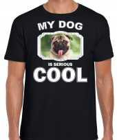 Mopshond honden t-shirt my dog is serious cool zwart heren