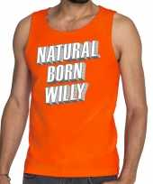 Oranje natural born willy tanktop mouwloos shirt he