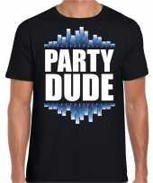 Party dude fun tekst t-shirt zwart heren