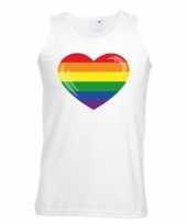 Regenboog vlag hart singlet-shirt tanktop wit heren