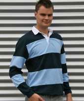Rugby shirt licht blauw navy