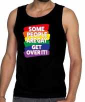 Some people are gay get over it gay pride tanktop mouwloos shirt