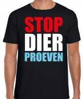 Stop dier proeven demonstratie protest t-shirt zwart heren