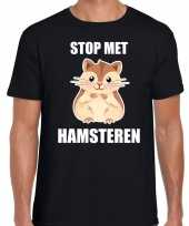 Stop hamsteren t-shirt zwart heren