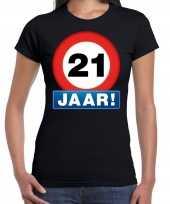 Stopbord jaar verjaardag t-shirt zwart dames 10218346