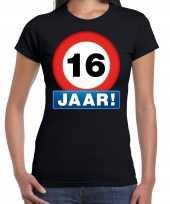 Stopbord jaar verjaardag t-shirt zwart dames