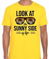 Sunny side feest t-shirt shirt look at the sunny side of life geel heren