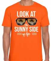 Sunny side feest t-shirt shirt look at the sunny side of life oranje heren