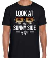 Sunny side feest t-shirt shirt look at the sunny side of life zwart heren