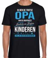 Trotse opa kinderen cadeau t-shirt zwart heren