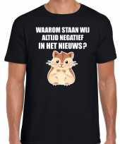 Waarom negatief nieuws hamsteren t-shirt zwart heren