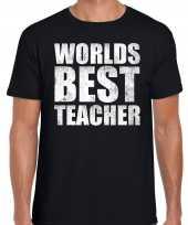 Worlds best teacher werelds beste leraar cadeau t-shirt zwart heren